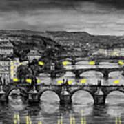 Bw Prague Bridges Poster by Yuriy  Shevchuk