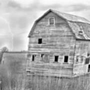 Bw Rustic Barn Lightning Strike Fine Art Photo Poster