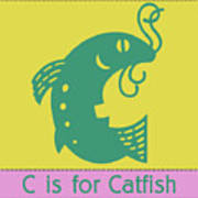 C Is For Catfish Kids Animal Alphabet Poster