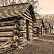 Cabins At Valley Forge In Sepia Poster