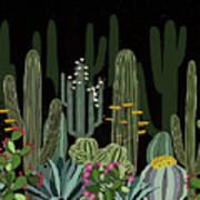 Cactus Garden At Night Poster