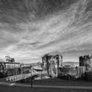 Caerphilly Castle Panorama Mono Poster