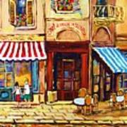 Cafe De Vieux Montreal With Couple Poster by Carole Spandau