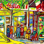 Caffe Italia And Milano Charcuterie Montreal Watercolor Streetscenes Little Italy Paintings Cspandau Poster