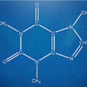 Caffeine Molecular Structure Blueprint Poster