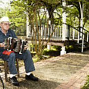 Cajun Man With Accordion Poster