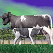 Calf Suckling - 3d Render Poster