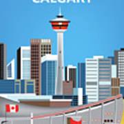 Calgary Alberta Canada Vertical Skyline Poster