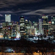 Calgary Skyline At Night Poster