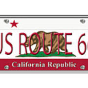 California Route 66 License Plate Poster