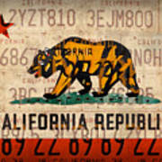 California State Flag Recycled Vintage License Plate Art Poster