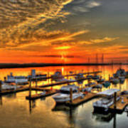 Calm Waters Bull River Marina Tybee Island Savannah Georgia Art Poster