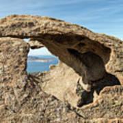 Calvi In Corsica Viewed Through A Hole In A Rock Poster