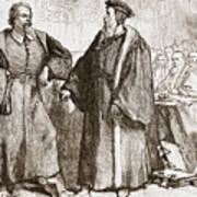 Calvin And Servetus Before The Council Of Geneva Poster