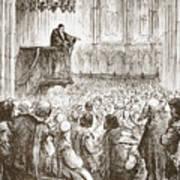 Calvin Preaching His Farewell Sermon In Expectation Of Banishment Poster