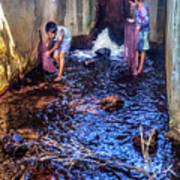 Cambodian Boys Netting Fish Poster
