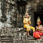 Cambodian Dancers At Angkor Thom Poster