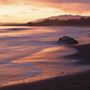Cambria Coastline With Shimmering Sunset Color Poster