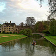 Cambridge Clare College Stream Boat And Boys Poster