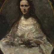 Camille Corot   Sketch Of A Woman In Bridal Dress Poster