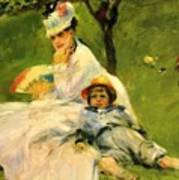 Camille Monet And Her Son Jean In The Garden At Argenteuil 1874 Poster