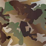 Camouflage Pattern Background  Clothing Print, Repeatable Camo G Poster