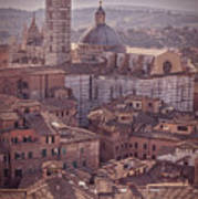 Campanile And Cathedral In Siena Italy Antique Matte Poster
