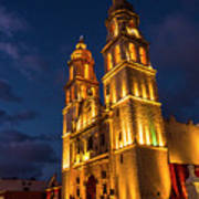Campeche Cathedral At Evening Poster