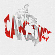 Canada Typographic Map Flag Poster