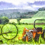 Canadian Farmland With Tractor Poster