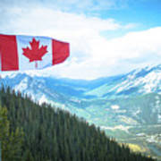 Canadian Flag Over Banff Poster