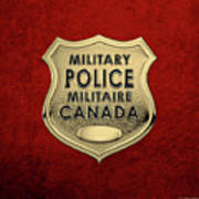 Canadian Forces Military Police C F M P  -  M P Officer Id Badge Over Red Velvet Poster