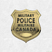 Canadian Forces Military Police C F M P  -  M P Officer Id Badge Over White Leather Poster