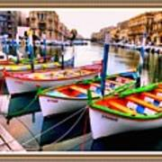 Canal Boats On A Canal In Venice L A S With Decorative Ornate Printed Frame.  Poster