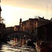 Canal In Venice At Sunset Poster