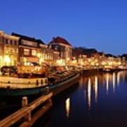 Canal Thorbeckegracht In Zwolle At Dusk With Boats Poster