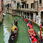 Canal With Gondolas In Venice Italy Poster