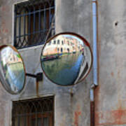 Canals Reflected In Mirrors In Venice Italy Poster