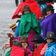 Canari Queue In Felt Hats Bright Cloaks Alausi Ecuador Poster