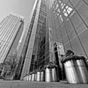 Canary Wharf Financial District In Black And White Poster