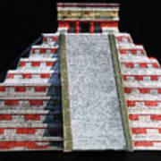 Cancun Mexico - Chichen Itza - Temple Of Kukulcan-el Castillo Pyramid Night Lights 1 Poster