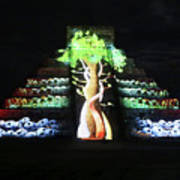 Cancun Mexico - Chichen Itza - Temple Of Kukulcan-el Castillo Pyramid Night Lights 5 Poster