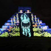 Cancun Mexico - Chichen Itza - Temple Of Kukulcan-el Castillo Pyramid Night Lights 6 Poster