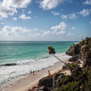 Cancun Mexico - Tulum Ruins - Caribbean Beach Poster
