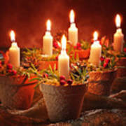 Candles In Terracotta Pots Poster by Amanda Elwell