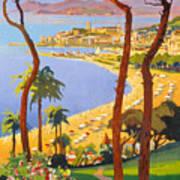 Cannes Vintage Travel Poster Poster