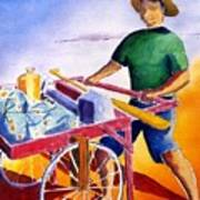 Canoe Fisherman With Cart Poster