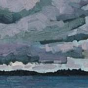 Canoe Lake Rain Clouds Poster