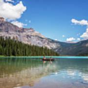 Canoe On Emerald Lake British Columbia Poster