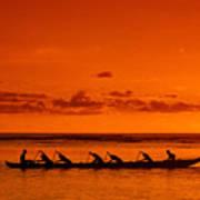 Canoe Paddlers Poster